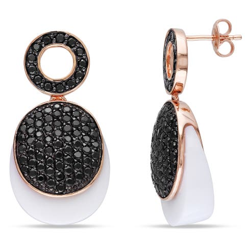 Miadora Synthetic White Agate Black Cubic Zirconia Dangle Earrings in Rose Plated Sterling Silver