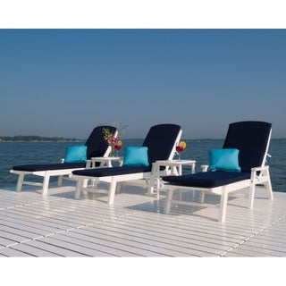 POLYWOOD Nautical Outdoor Chaise Lounge, Stackable