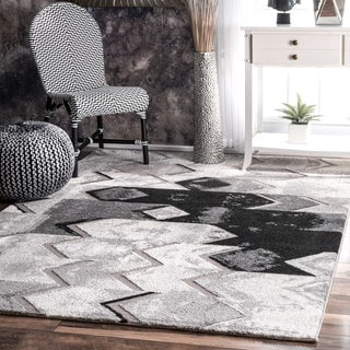 nuLOOM Contemporary Abstract Chevron Grey Rug (7'10 x 10')