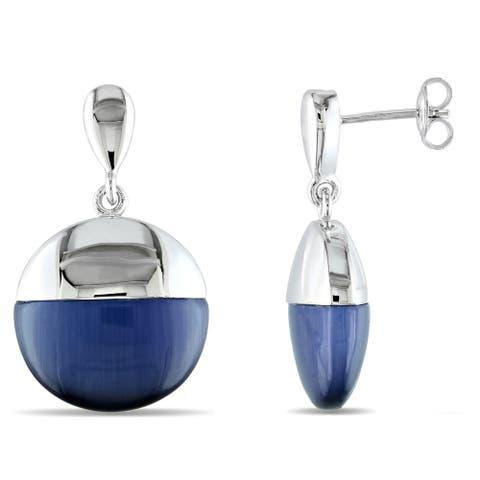 Miadora Simulated Blue Cat Eye Domed Drop Earrings in Sterling Silver