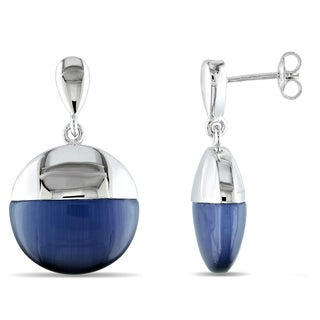 Catherine Catherine Malandrino Simulated Blue Cat Eye Domed Drop Earrings in Sterling Silver
