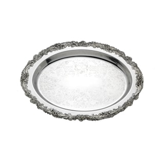 Reed & Barton Burgundy Metal Oval Tray with Floral Edge