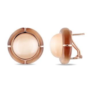 Catherine Catherine Malandrino Simulated Champagne Coffee Cat Eye Domed Clip-on Earrings in Rose Plated Sterling Silver