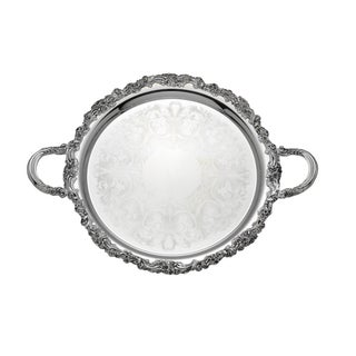 Reed Barton 'Burgundy' Silvertone Metal Round Tray with Handles