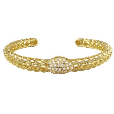 Luxiro Gold Finish Sterling Silver Cubic Zirconia Filigree Cuff Bangle Bracelet - White