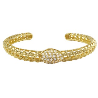 Luxiro Gold Finish Sterling Silver Cubic Zirconia Filigree Cuff Bangle Bracelet