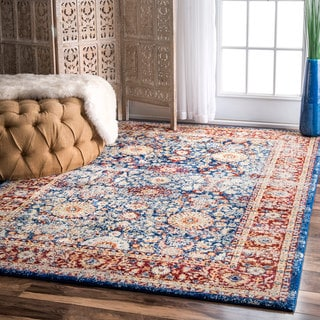 nuLOOM Vintage Persian Faded Floral Blue Rug (5'3 x 7'9)