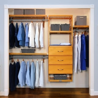Deluxe 3-drawer Honey Maple Closet Organizer