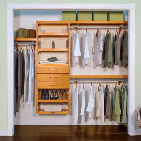 John Louis Home 12in. deep Solid Wood 4-Drawer Premier Organizer Honey Maple