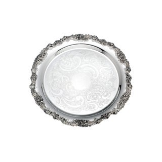 Reed Barton Burgundy Silverplated Metal Round Tray