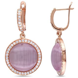 Catherine Catherine Malandrino Light Purple Simulated Cat Eye Cubic Zirconia Dangle Earrings in Rose Plated Sterling Silver|https://ak1.ostkcdn.com/images/products/14093375/P20702776.jpg?impolicy=medium