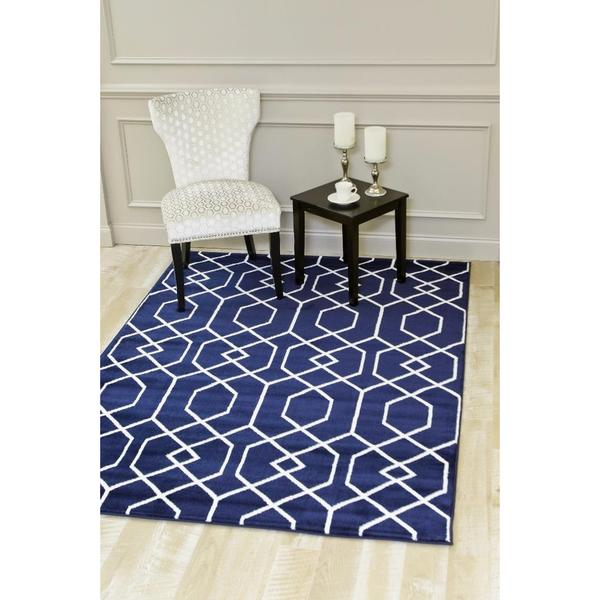 Persian Rugs Abstract Trellis Navy/White Polypropylene Area Rug (7'10 x 10'6)