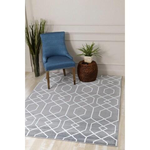 Persian Rugs Grey, White Abstract Trellis Polypropylene Area Rug - 2'0 x 3'4