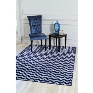 Persian Rugs Navy/White Zig-zag Polypropylene Indoor Area Rug (7'10 x 10'6)