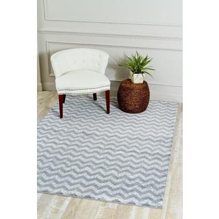 Persian Rugs Grey/ White Zig-Zag Indoor Rug (2' x 3'4)