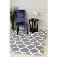 Grey Polypropylene Moroccan Trellis Design Persian Area Rug - 7'10x10'6