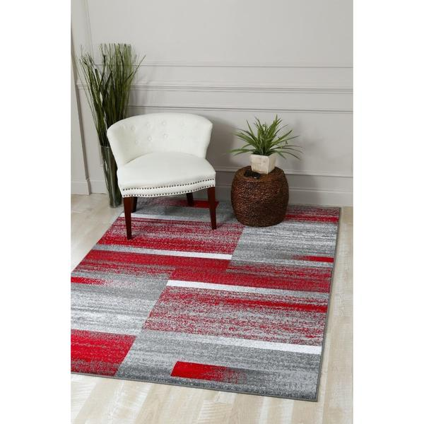 Persian Rugs Modern Abstract Pop of Red Polypropylene Area Rug - 7'10 x 10'6