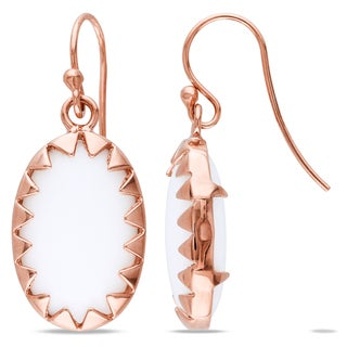 Miadora Oval-Cut White Onyx Framed Dangle Hook Earrings in Rose Plated Sterling Silver