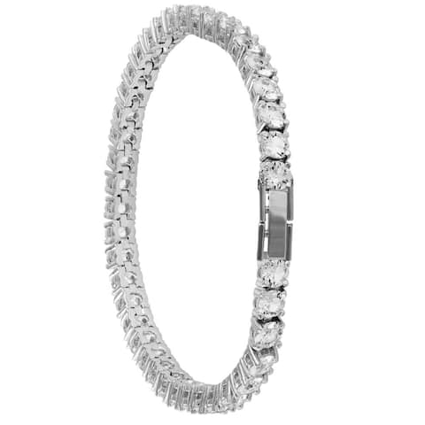 White Gold Plated Tennis Bracelet with High Quality Crystals by Matashi