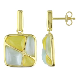 Catherine Catherine Malandrino Light Green and Yellow Simulated Cat Eye Drop Earrings in Yellow Plated Sterling Silver