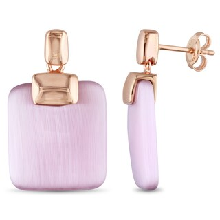 Miadora Light Purple Simulated Cabochon Cat-Eye Drop Earrings in Rose Plated Sterling Silver - Pink