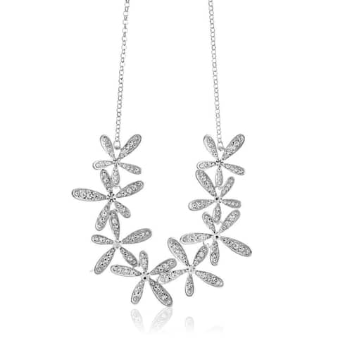 """Rhodium Plated Necklace and with Flowers Design and 12"""" Extendable Chain with High Quality Crystals by Matashi"""