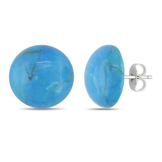 Catherine Catherine Malandrino Round-Cut Cabochon Flat Bottom Howalite Stud Earrings in Sterling Silver