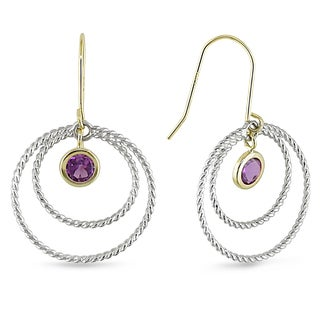 Catherine Catherine Malandrino Amethyst Multi-Circle Dangle Earrings in Two-Tone White and Yellow Plated Sterling Silver