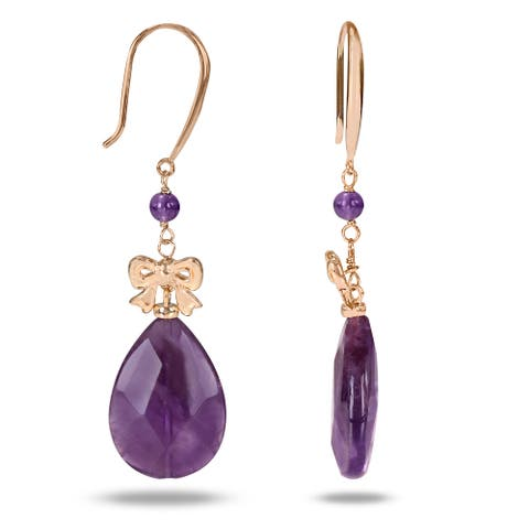 Miadora Pear-Cut Amethyst Bow Accent Dangle Hook Earrings in Yellow Plated Sterling Silver - Purple