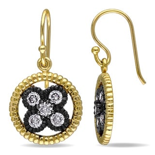 Catherine Catherine Malandrino Cubic Zirconia Floral Halo Hook Earrings in Yellow Plated Sterling Silver with Black Rhodium
