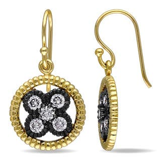 Catherine Catherine Malandrino Cubic Zirconia Floral Halo Hook Earrings in Yellow Plated Sterling Silver with Black Rhodium|https://ak1.ostkcdn.com/images/products/14093460/P20703063.jpg?impolicy=medium