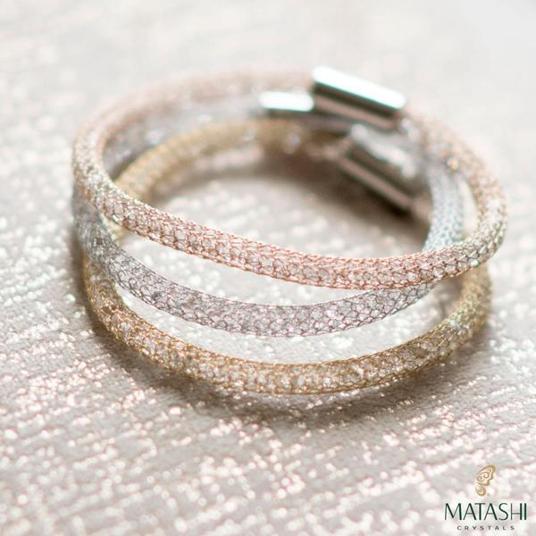 """7/"""" /& 7.5/"""" 18K Gold Plated Mesh Bracelet W// Magnetic Clasps by Matashi Set of 3"""