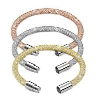 Matashi 18k Goldplated Crystal Mesh Bangle 7-inch Bracelets (Pack of 3)|https://ak1.ostkcdn.com/images/products/14093582/P20703068.jpg?impolicy=medium