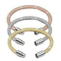 "Set of (3) 7"" & 7.5"" Gold Plated Mesh Bracelet W/ Magnetic Clasps by Matashi"