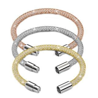 Matashi 18k Goldplated Crystal Mesh Bangle 7-inch Bracelets (Pack of 3)