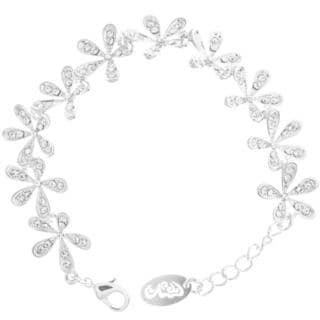Matashi Rhodium-plated Cubic Zirconia Flower Bracelet