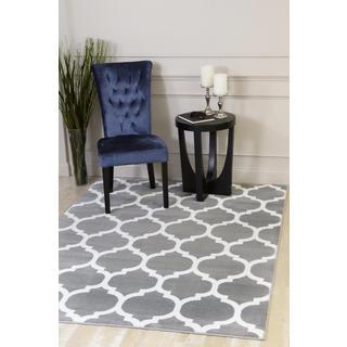 Persian Rugs Moroccan Trellis Design Grey Polypropylene Area Rug (6'5 x 9'2)