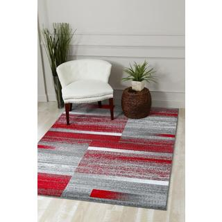Persian Rugs Modern Abstract 'Pop of Red' Area Rug (5'2 x 7'2)