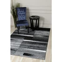 "Persian Rugs Grey Polypropylene Modern Abstract Area Rug - 5'2"" x 7'2"""
