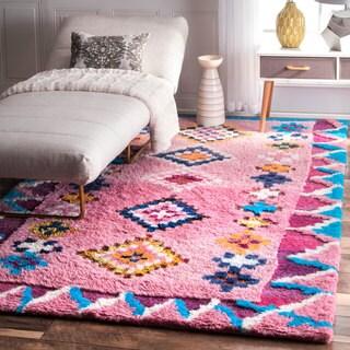 nuLOOM Soft and Plush Handmade Moroccan Pink Shag Rug (5' x 8')