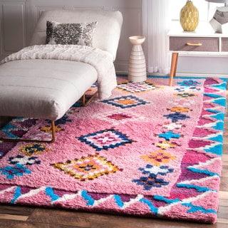 NuLOOM Soft And Plush Handmade Moroccan Pink Shag Rug (5u0027 X ...