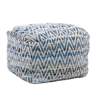 Christopher Knight Home Edon Blue Cotton Embroidery Pouf Ottoman