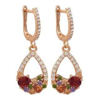 Luxiro Rose Gold Finish Sterling Silver Multi-color Cubic Zirconia Teardrop Earrings
