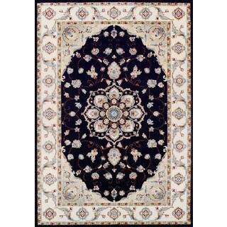 Couristan Vintage Floral Malayer/Ebony-Sand Rug (2' x 3'7)