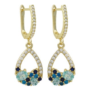 Luxiro Gold Finish Sterling Silver Lab-created Sapphire and Cubic Zirconia Teardrop Earrings