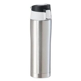 Oggi Stainless Steel Silver Travel Mug with Flip-Open Locking Lid