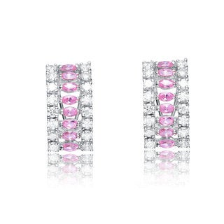 Collette Z C.Z. Sterling Silver Pink Marquise Earrings