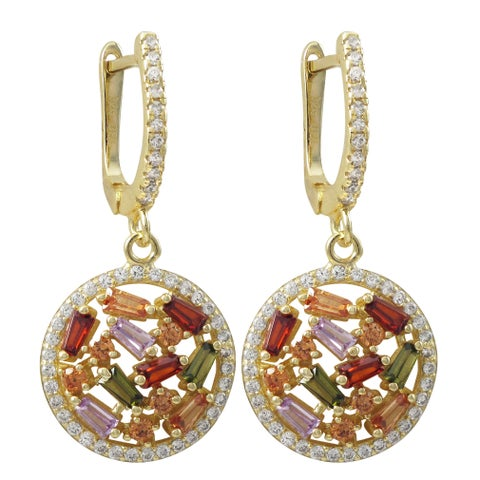 Luxiro Gold Finish Sterling Silver Baguette Cubic Zirconia Circle Dangle Earrings - Red