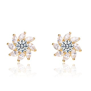 Collette Z C.Z. Sterling Silver Gold Plated Marquise Jacket Earrings