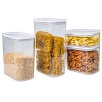 Set of 4 Shatter Proof Acrylic Canister Set With Airtight Lids, In Round or Square